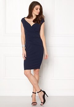 Goddiva Bardot Pleat Midi Dress Navy Bubbleroom.se