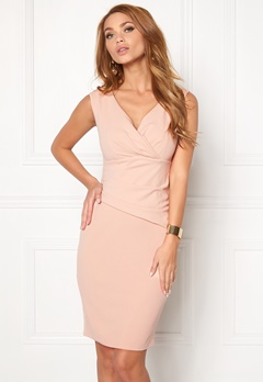 Goddiva Bardot Pleat Midi Dress Nude Bubbleroom.se