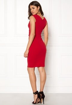 Goddiva Bardot Pleat Midi Dress Red Bubbleroom.no