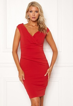 Goddiva Bardot Pleat Midi Dress Red Bubbleroom.se
