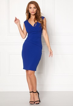 Goddiva Bardot Pleat Midi Dress Royal Blue Bubbleroom.se