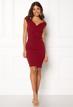 Goddiva Bardot Pleat Midi Dress Wine Bubbleroom.se