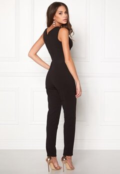 Goddiva Bardot Pleated Jumpsuit Black Bubbleroom.se