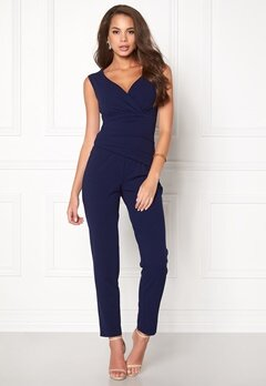 Goddiva Bardot Pleated Jumpsuit Navy Bubbleroom.se