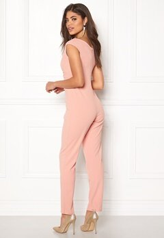 Goddiva Bardot Pleated Jumpsuit Nude Bubbleroom.no