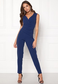Goddiva Bardot Pleated Jumpsuit Royal Bubbleroom.no