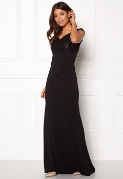 Goddiva Bardot Sequin Maxi Dress Black Bubbleroom.se