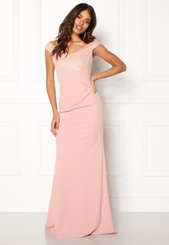 Goddiva Bardot Sequin Maxi Dress Nude Bubbleroom.se