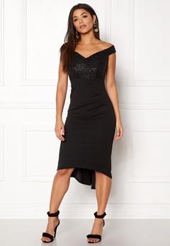Goddiva Bardot Sequin Midi Dress Black Bubbleroom.se