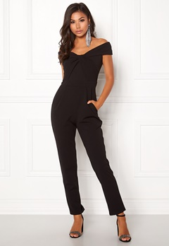 Goddiva Bardot Twist Jumpsuit Black Bubbleroom.se