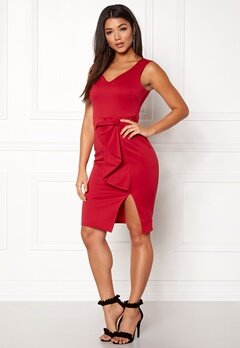 Goddiva Bow Detail Midi Dress Red Bubbleroom.dk