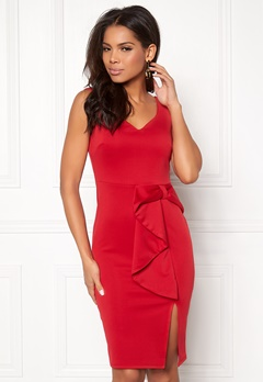 Goddiva Bow Detail Midi Dress Red Bubbleroom.se