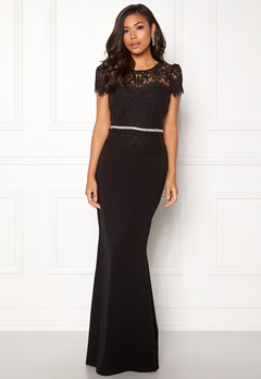 Goddiva Cap Sleeve Lace Dress Black Bubbleroom.se d029a656853ff