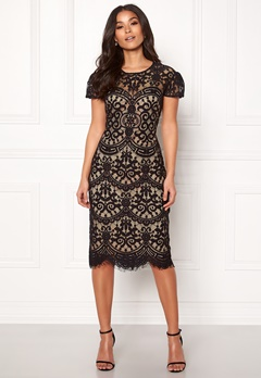 Goddiva Cap Sleeve Lace Dress Black/nude Bubbleroom.se