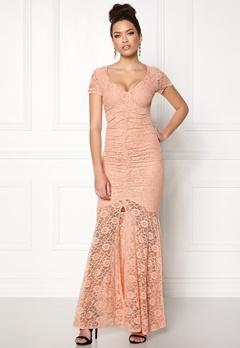 Goddiva Cap Sleeve Lace Dress Nude Bubbleroom.se