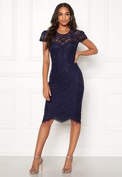 Goddiva Cap Sleeve Lace Dress Navy Bubbleroom.se