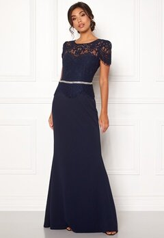 Goddiva Cap Sleeve Lace Dress Navy Bubbleroom.se