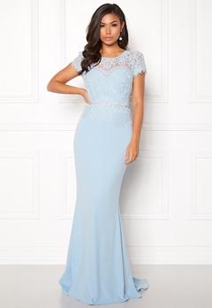 Goddiva Cap Sleeve Lace Dress Powder Blue Bubbleroom.se