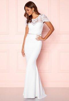 Goddiva Cap Sleeve Wedding Dress White Bubbleroom.se