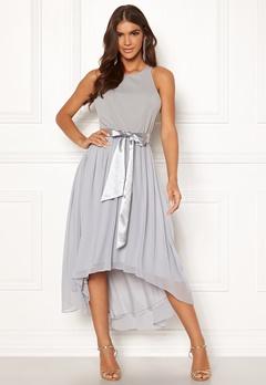 Goddiva Chiffon High Low Dress Grey Bubbleroom.se