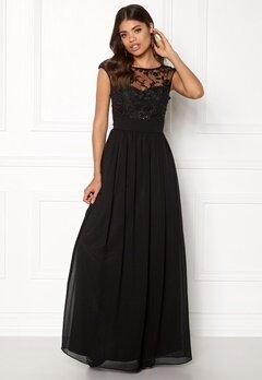 Goddiva Chiffon Maxi Dress Black Bubbleroom.no