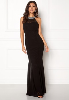 Goddiva Chiffon Maxi Dress Black Bubbleroom.se