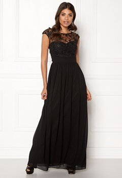Goddiva Chiffon Maxi Dress Black Bubbleroom.no
