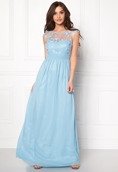 Goddiva Chiffon Maxi Dress Light Blue Bubbleroom.se