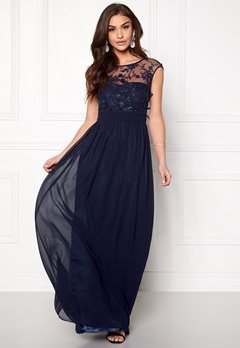 Goddiva Chiffon Maxi Dress Navy Bubbleroom.no