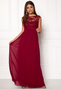 Goddiva Chiffon Maxi Dress Wine Bubbleroom.fi