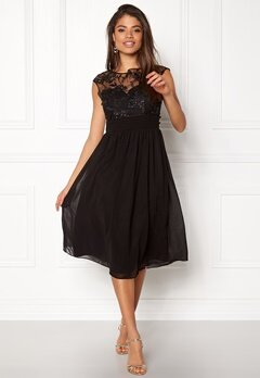 Goddiva Chiffon Midi Flower Dress Black Bubbleroom.eu
