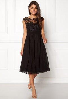 Goddiva Chiffon Midi Flower Dress Black Bubbleroom.no