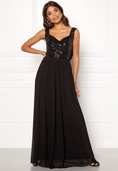 Goddiva Cowl Back Sequin Dress Black Bubbleroom.se