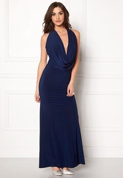 Goddiva Cowl Neck Maxi Dress Navy Bubbleroom.se