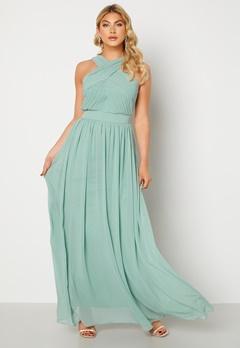 Goddiva Cross Front Chiffon Maxi Dress Sage Green Bubbleroom.se