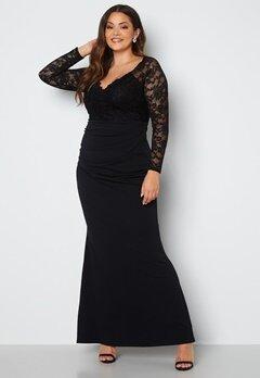 Goddiva Curve Long Sleeve Lace Trim Maxi Dress Black Bubbleroom.se