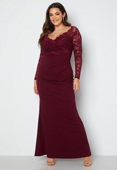 Goddiva Curve Long Sleeve Lace Trim Maxi Dress Dark Wine Bubbleroom.se