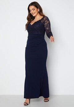 Goddiva Curve Long Sleeve Lace Trim Maxi Dress Navy Bubbleroom.se