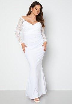 Goddiva Curve Long Sleeve Lace Trim Maxi Dress White Bubbleroom.se