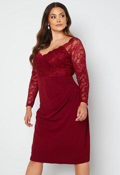 Goddiva Curve Long Sleeve Lace Trim Midi Dress Wine Bubbleroom.se