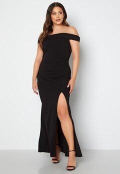 Goddiva Curve Off Shoulder Maxi Curve Dress Black bubbleroom.se
