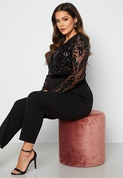Goddiva Curve Sequin Bodice Jumpsuit Black Bubbleroom.se