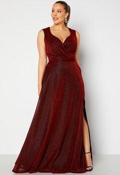Goddiva Curve Wrap Front Sleeveless Maxi Curve Dress With Split Red bubbleroom.se