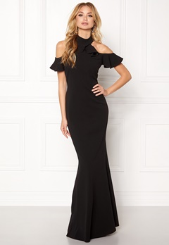 Goddiva Cut Out Maxi Dress Frill Black Bubbleroom.no