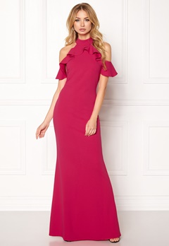 Goddiva Cut Out Maxi Dress Frill Cerise Bubbleroom.no