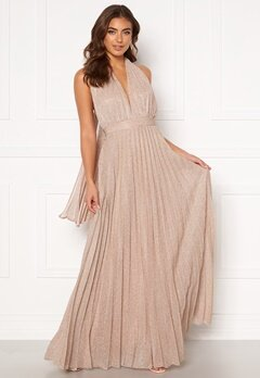 Goddiva Deep V Neck Glitter Dress Blush Bubbleroom.se