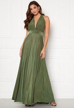Goddiva Deep V Neck Maxi Dress Olive Bubbleroom.se