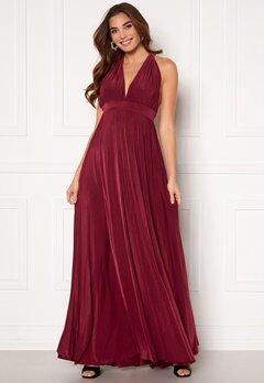 Goddiva Deep V Neck Maxi Dress Wine Bubbleroom.se