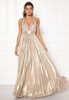 Goddiva Deep V Neck Metallic Dress Gold Bubbleroom.se