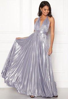Goddiva Deep V Neck Metallic Dress Lavender Bubbleroom.se